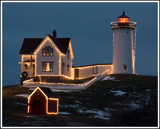 Holiday at Nubble Light, Maine